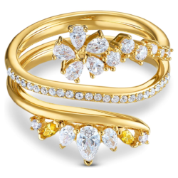 Botanical Ring, weiss, vergoldet