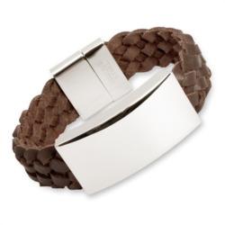Braunes Leder Armband inkl Edelstahlgravurplatte