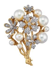 Brosche Diemer Perle Weiß