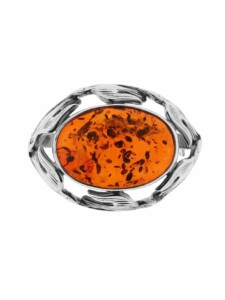 Brosche – Fischland 30×23 mm – Silber 925/000 – Bernstein OSTSEE-SCHMUCK Silber 925