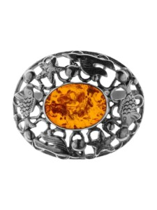 Brosche – Fischland 36×30 mm – Silber 925/000 – Bernstein OSTSEE-SCHMUCK Silber 925