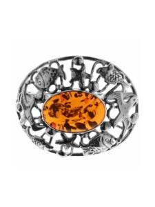 Brosche – Fischland 43×35 mm – Silber 925/000 – Bernstein OSTSEE-SCHMUCK Silber 925