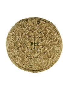 Brosche – Hiddensee 42 mm rund – Silber 925/000, vergoldet – , OSTSEE-SCHMUCK goldfarben-gelb