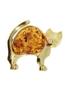 Brosche – Katze – Silber 925/000, vergoldet – Bernstein OSTSEE-SCHMUCK goldfarben-gelb