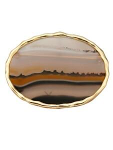 Brosche mit Landschaftsachat Diemer Farbstein Multicolor