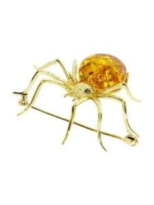 Brosche – Spinne 48 x 40 mm – Silber 925/000, vergoldet – Bernstein OSTSEE-SCHMUCK goldfarben-gelb