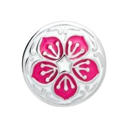 Button Emaille rosa-weißes Blumenmuster