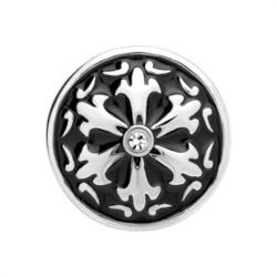Button schwarz-silberne-Blüte Zirkonia
