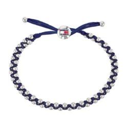 Casual Core Armband aus blauem Textil Edelstahl Perlen
