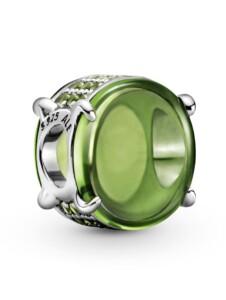 Charm – Grünes Ovales Cabochon – Pandora Silberfarben