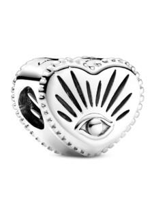 Charm -Allsehendes Auge und Herz- Pandora Silberfarben