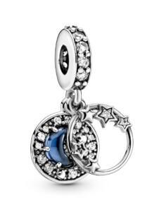 Charm-Anhänger -blauer Nachthimmel Pandora Silberfarben