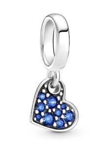 Charm-Anhänger – blaues gekipptes Herz – Pandora Blau