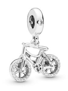 Charm-Anhänger -Brillantes Fahrrad- Pandora Silberfarben