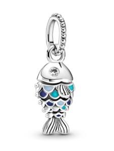 Charm-Anhänger – Fisch mit blauen Schuppen – Pandora Silberfarben