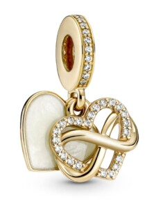 Charm-Anhänger -Funkelndes Unendlichkeits Herz- 14K Gold Pandora Gelbgoldfarben