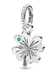 Charm-Anhänger -Glücks-Kleeblatt- Pandora Silberfarben