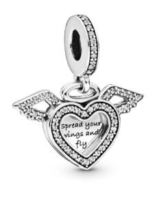 Charm-Anhänger -Herz & Engelsflügel- Pandora Silberfarben