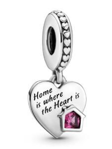 Charm-Anhänger -Herz- Liebe mein Zuhause- Pandora Silberfarben