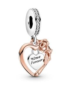 Charm-Anhänger -Herz und Rosenblüten- Pandora Rosé