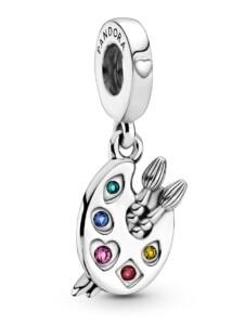 Charm-Anhänger -Künstlerpalette- Pandora Silberfarben