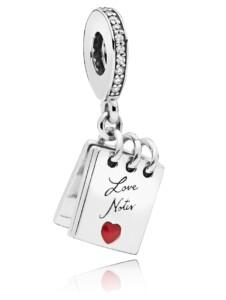 Charm-Anhänger -Liebes Notiz- Pandora Silberfarben