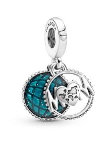 Charm-Anhänger – Glitzerglobus Mum – Pandora Blau