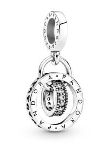 Charm-Anhänger -Pandora Logo- Kreise – Pandora Silberfarben