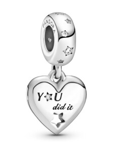 Charm-Anhänger – Herzlichen Glückwunsch Herzen & Sterne – Pandora Silberfarben