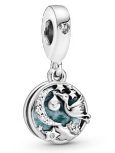 Charm-Anhänger – Storch und Funkelnde Sterne – Pandora Silberfarben