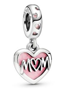 Charm-Anhänger – Mum Inschrift Herz – Pandora Silberfarben