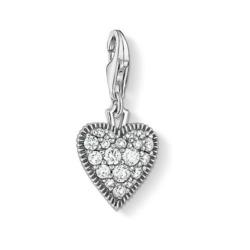 Charm Anhänger Vintage Herz aus 925er Silber Zirkonia