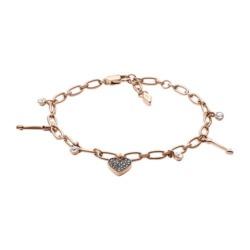Charm Armband für Damen aus Edelstahl, rosé, gravierbar