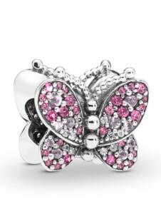 Charm – Rosafarbenes Pavé-Schmetterling – Pandora Rosé