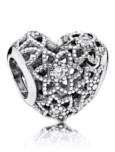 Charm -Blühendes Herz- Pandora Weiß