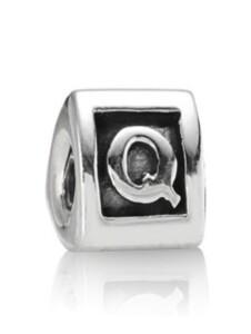 Charm -Buchstabe Q- Pandora Silberfarben