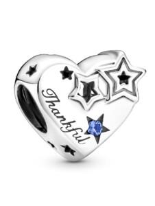 Charm -Dankbares Herz & Sterne – Pandora Silberfarben