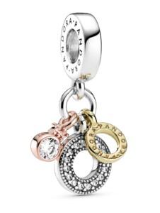 Charm-Anhänger – Dreifacher Monogramm & Logo – Pandora Silberfarben