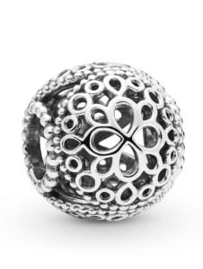 Charm -Durchbrochene Blume- Pandora Silberfarben
