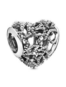 Charm -Durchbrochenes Herz- Pandora Silberfarben