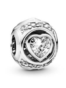 Charm -Erhöhtes Herz- Pandora Silberfarben
