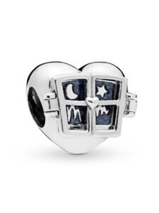 Charm -Fenster Herz- Pandora Silberfarben