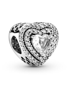 Charm -funkelnde Herzen Pandora Silberfarben