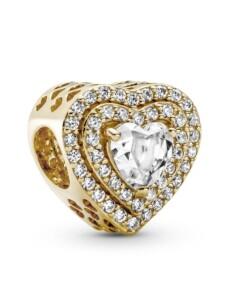 Charm -Funkelnde mehrstufige Herzen- 14K Gold Pandora Gelbgoldfarben
