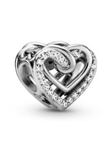 Charm -Funkelnde verschlungene Herzen- Pandora Silberfarben