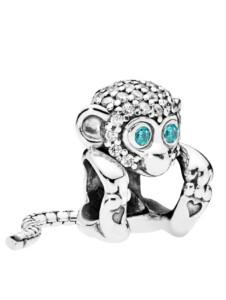 Charm -Funkelnder Affe- Pandora Silberfarben