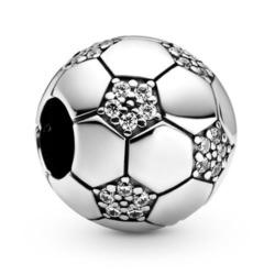 Charm Fußball aus 925er Silber mit Zirkonia