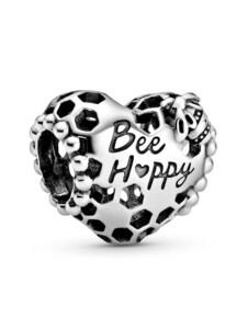 """Charm – """"Bee Happy"""" Waben-Herz – Pandora Silberfarben"""
