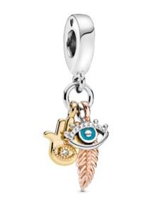 Charm-Hand der Fatima,beschützendes Auge, Federgeist- Pandora Multicolor