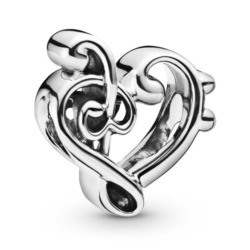Charm Heart Treble Clef aus Sterlingsilber
